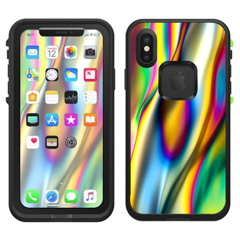 Oil Slick Rainbow Opalescent Design Awesome Lifeproof Fre Case iPhone X Skin