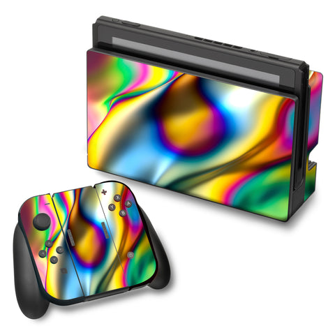 Oil Slick Rainbow Opalescent Design Awesome Nintendo Switch Skin