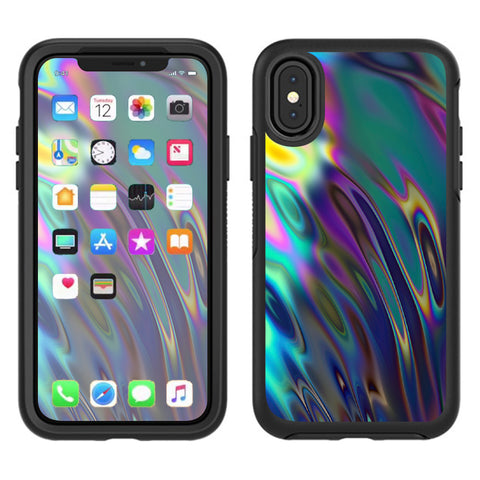 Oil Slick Opal Colorful Resin  Otterbox Defender Apple iPhone X Skin