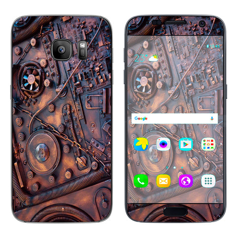 Steampunk Metal Panel Vault Fan Gear Samsung Galaxy S7 Skin