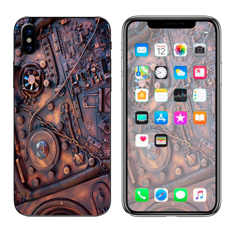 Steampunk Metal Panel Vault Fan Gear Apple iPhone X Skin