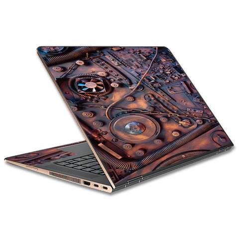 Steampunk Metal Panel Vault Fan Gear HP Spectre x360 13t Skin