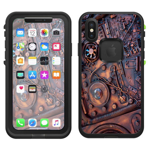 Steampunk Metal Panel Vault Fan Gear Lifeproof Fre Case iPhone X Skin
