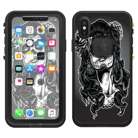 Sugar Skull Girl Dia De Los Meurtos Lifeproof Fre Case iPhone X Skin