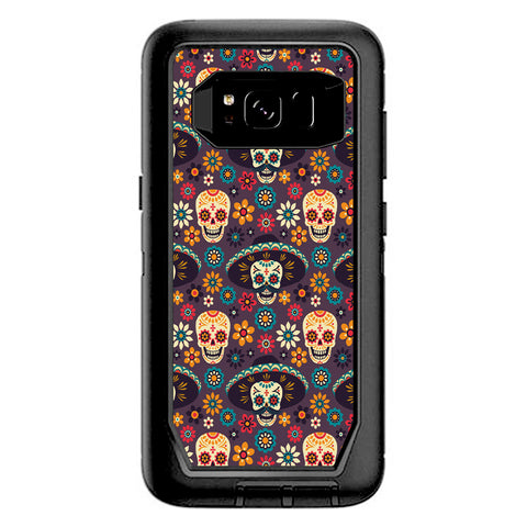 Sugar Skulls Sombrero Day Of The Dead Otterbox Defender Samsung Galaxy S8 Skin