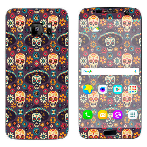 Sugar Skulls Sombrero Day Of The Dead Samsung Galaxy S7 Edge Skin