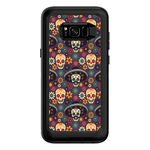 Sugar Skulls Sombrero Day Of The Dead Otterbox Defender Samsung Galaxy S8 Plus Skin