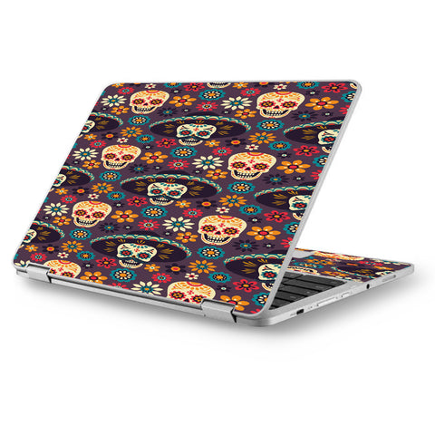 "Sugar Skulls Sombrero Day Of The Dead Asus Chromebook Flip 12.5"" Skin"