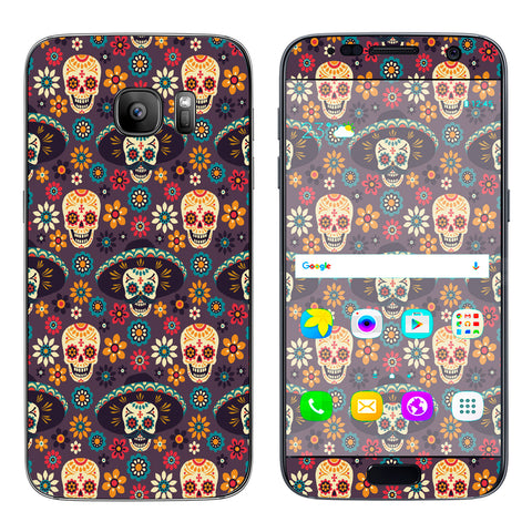 Sugar Skulls Sombrero Day Of The Dead Samsung Galaxy S7 Skin