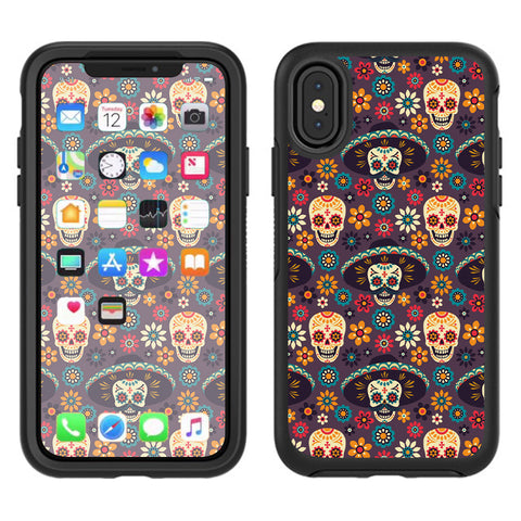 Sugar Skulls Sombrero Day Of The Dead Otterbox Defender Apple iPhone X Skin