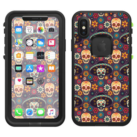 Sugar Skulls Sombrero Day Of The Dead Lifeproof Fre Case iPhone X Skin