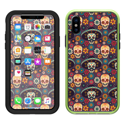 Sugar Skulls Sombrero Day Of The Dead Lifeproof Slam Case iPhone X Skin