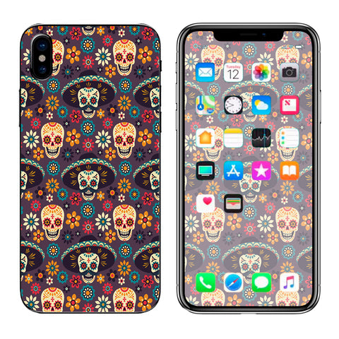Sugar Skulls Sombrero Day Of The Dead Apple iPhone X Skin