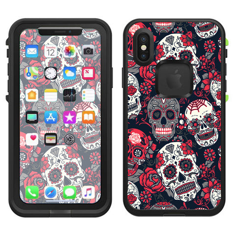 Sugar Skulls Red Black Dia De Los Lifeproof Fre Case iPhone X Skin