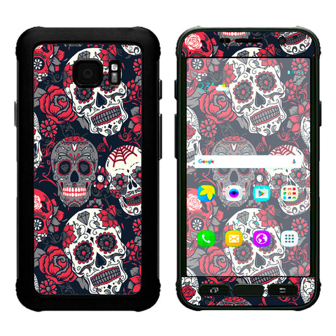 Sugar Skulls Red Black Dia De Los Samsung Galaxy S7 Active Skin