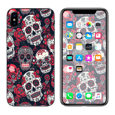 Sugar Skulls Red Black Dia De Los Apple iPhone X Skin