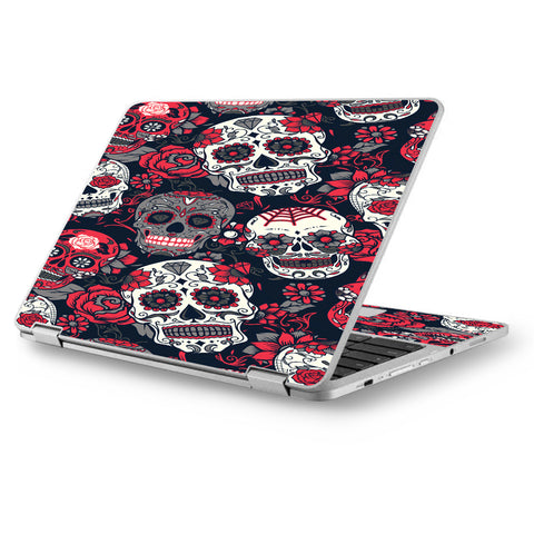 "Sugar Skulls Red Black Dia De Los Asus Chromebook Flip 12.5"" Skin"