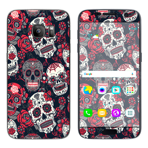 Sugar Skulls Red Black Dia De Los Samsung Galaxy S7 Skin