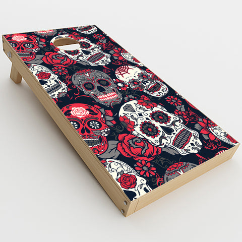 Sugar Skulls Red Black Dia De Los  Cornhole Game Board (2 pcs.) Skin