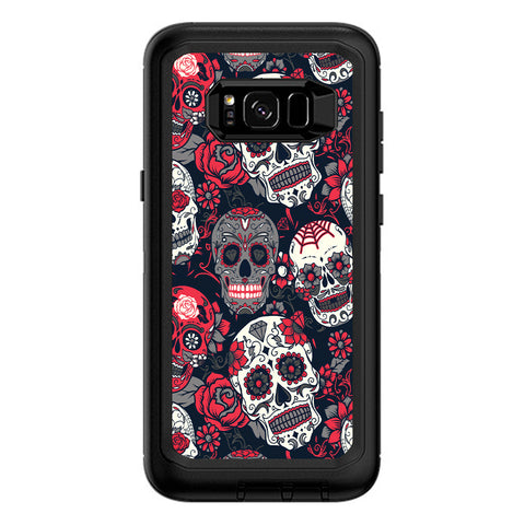 Sugar Skulls Red Black Dia De Los Otterbox Defender Samsung Galaxy S8 Plus Skin