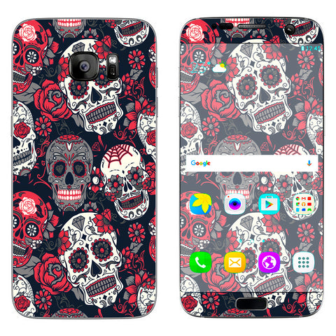 Sugar Skulls Red Black Dia De Los Samsung Galaxy S7 Edge Skin