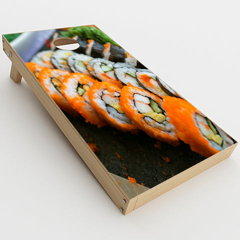 Sushi Rolls Eat Foodie Japanese  Cornhole Game Board (2 pcs.) Skin