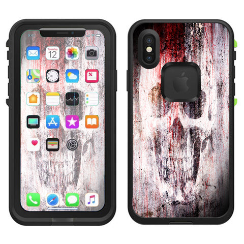 Tattered Skull Blood Skull Dead Lifeproof Fre Case iPhone X Skin