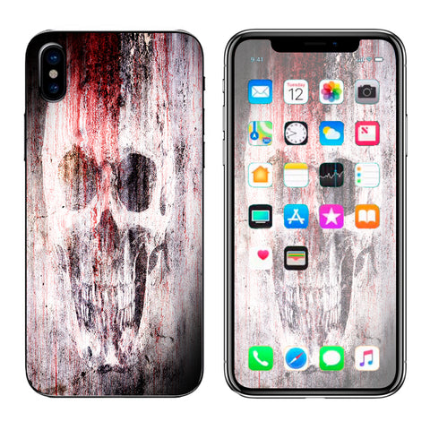 Tattered Skull Blood Skull Dead Apple iPhone X Skin