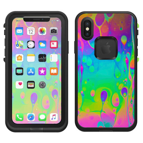 Trippy Tie Die Colors Dripping Lava Lifeproof Fre Case iPhone X Skin