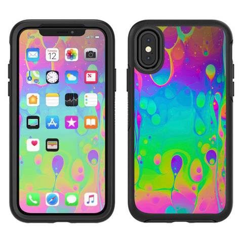 Trippy Tie Die Colors Dripping Lava Otterbox Defender Apple iPhone X Skin
