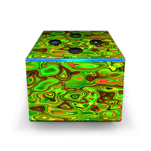 Green Glass Trippy Psychedelic Amazon Fire TV Cube Skin