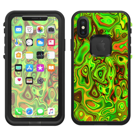 Green Glass Trippy Psychedelic Lifeproof Fre Case iPhone X Skin
