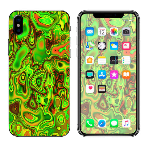 Green Glass Trippy Psychedelic Apple iPhone X Skin