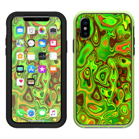 Green Glass Trippy Psychedelic Lifeproof Slam Case iPhone X Skin