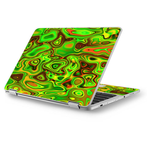 "Green Glass Trippy Psychedelic Asus Chromebook Flip 12.5"" Skin"
