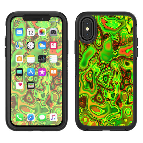 Green Glass Trippy Psychedelic Otterbox Defender Apple iPhone X Skin