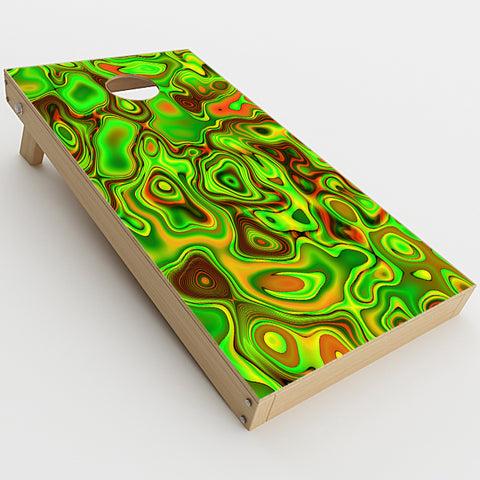Green Glass Trippy Psychedelic  Cornhole Game Board (2 pcs.) Skin