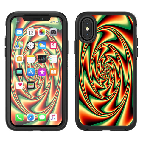 Trippy Motion Moving Swirl Illusion Otterbox Defender Apple iPhone X Skin