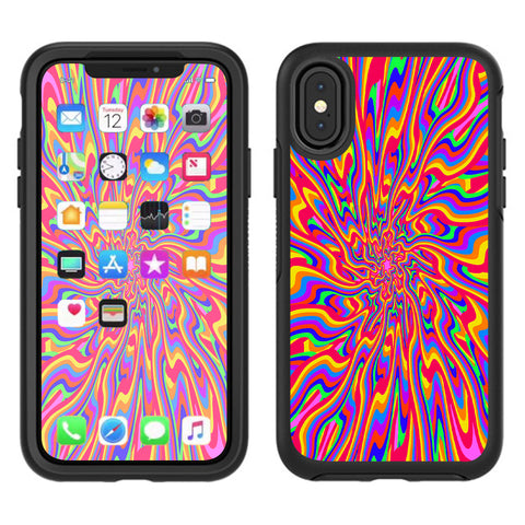 Optical Illusion Colorful Holographic Otterbox Defender Apple iPhone X Skin