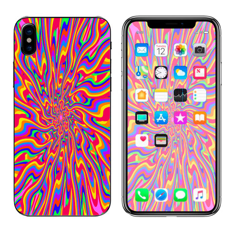 Optical Illusion Colorful Holographic Apple iPhone X Skin