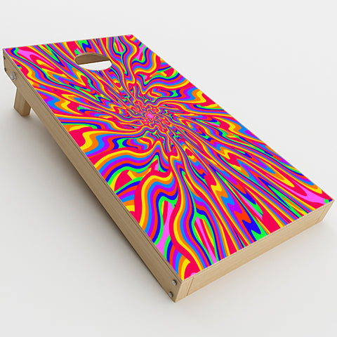 Optical Illusion Colorful Holographic  Cornhole Game Board (2 pcs.) Skin