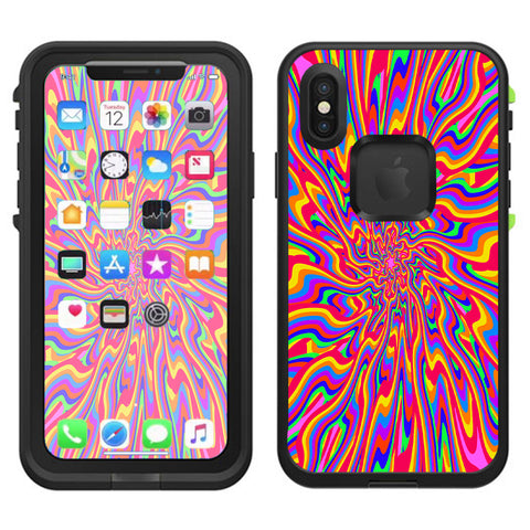 Optical Illusion Colorful Holographic Lifeproof Fre Case iPhone X Skin