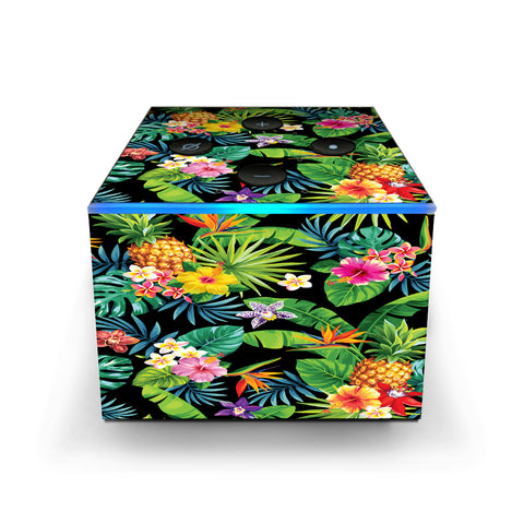 Tropical Flowers Pineapple Hibiscus Hawaii Amazon Fire TV Cube Skin