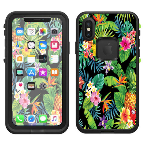 Tropical Flowers Pineapple Hibiscus Hawaii Lifeproof Fre Case iPhone X Skin