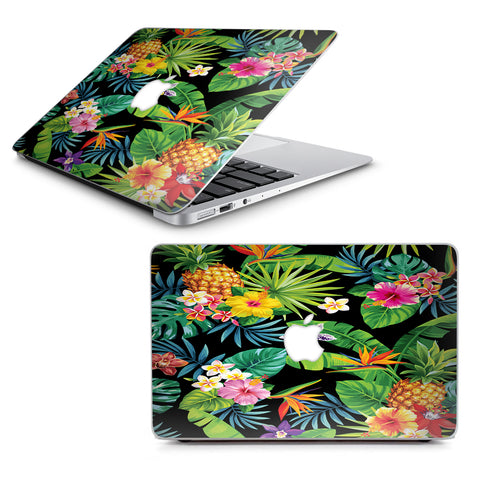 "Tropical Flowers Pineapple Hibiscus Hawaii Macbook Air 11"" A1370 A1465 Skin"