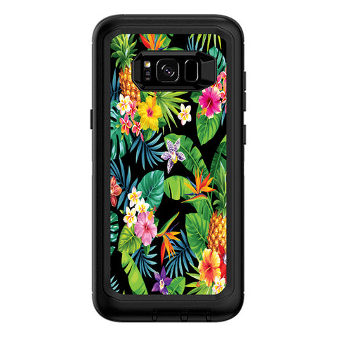 Tropical Flowers Pineapple Hibiscus Hawaii Otterbox Defender Samsung Galaxy S8 Plus Skin