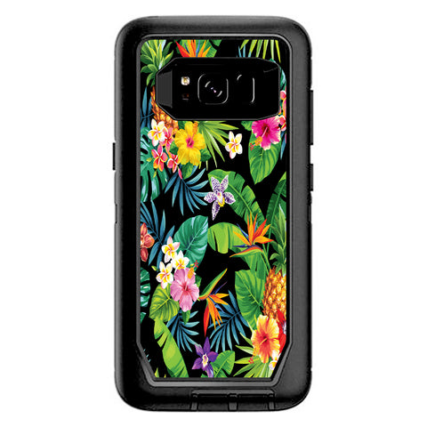 Tropical Flowers Pineapple Hibiscus Hawaii Otterbox Defender Samsung Galaxy S8 Skin