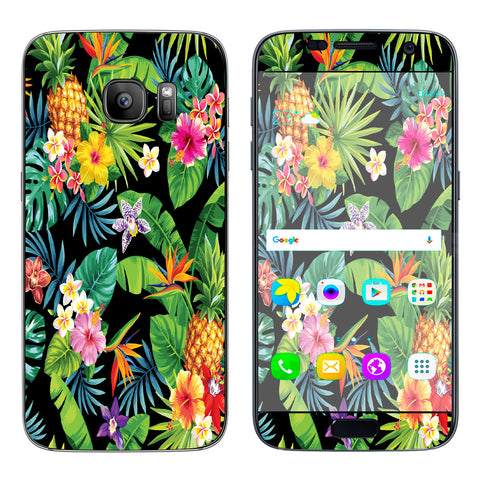 Tropical Flowers Pineapple Hibiscus Hawaii Samsung Galaxy S7 Skin