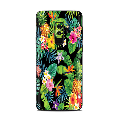 Tropical Flowers Pineapple Hibiscus Hawaii Samsung Galaxy S9 Plus Skin