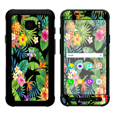 Tropical Flowers Pineapple Hibiscus Hawaii Samsung Galaxy S7 Active Skin